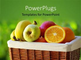 PowerPoint template displaying a lot of fruits with greenish background and place for text