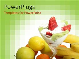 PowerPoint template displaying a lot of fruits together along with icecream