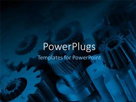 PowerPoint template displaying a lot of gears in different shapes and sizes