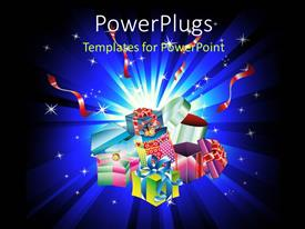 PowerPoint template displaying a lot of gift hampers with bluish background