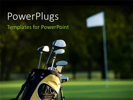 PowerPoint template displaying a lot of golf clubs in the bag