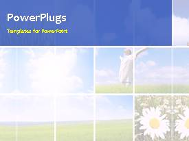 PowerPlugs: PowerPoint template with a lot of grass in the background with a bullet point