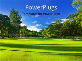 PowerPoint template displaying a lot of greenery and a clear sky