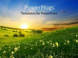 PowerPlugs: PowerPoint template with a lot of greenery and flowers with sun in the background