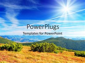 PowerPlugs: PowerPoint template with a lot of greenery with mountains and sun