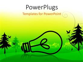 PowerPoint template displaying a lot of greenery and trees with a bulb in the middle