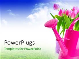 PowerPoint template displaying a lot of greenery and tulip flowers with sky in the background