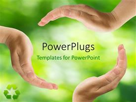 PowerPlugs: PowerPoint template with a lot of hands protecting greenery