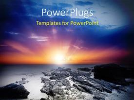 PowerPlugs: PowerPoint template with a lot of ice and stones with sunset in the background