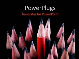 PowerPlugs: PowerPoint template with a lot of lead pencils with blackish background