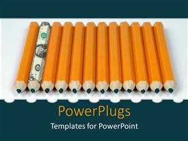 PowerPlugs: PowerPoint template with a lot of lead pencils with one with dollar note design