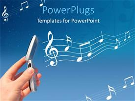 PowerPlugs: PowerPoint template with a lot of music signs in the background with a mobile phone