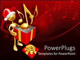 PowerPlugs: PowerPoint template with a lot of music signs with a person and a gift hamper