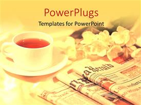 PowerPlugs: PowerPoint template with a lot of newspapers and a cup of tea