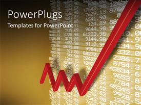 PowerPlugs: PowerPoint template with a lot of numbers related to business with a growth sign
