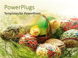 PowerPlugs: PowerPoint template with a lot of painted easter eggs with green background