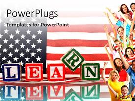 PowerPoint template displaying a lot of people with an American flag in the background