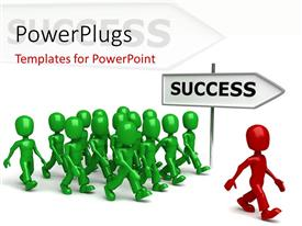 PowerPoint template displaying a lot of people being lead by a leader