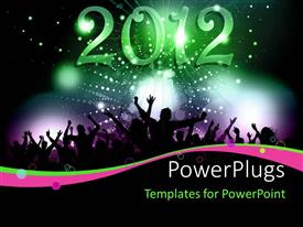 PowerPoint template displaying a lot of people celebrating the new year 2010