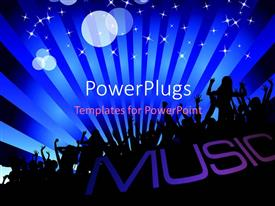 PowerPlugs: PowerPoint template with a lot of people enjoying the music with bluish background