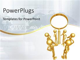 PowerPlugs: PowerPoint template with a lot of people with a magnifying glass and map in background