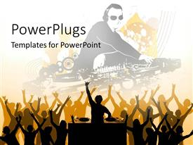 PowerPlugs: PowerPoint template with lot of people partying with a DJ in a club