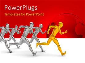 PowerPlugs: PowerPoint template with a lot of people in a race with reddish background