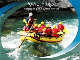 PowerPlugs: PowerPoint template with lot of people with safety jackets on a life boat