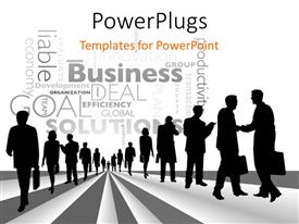 PowerPoint template displaying a lot of professionals with business related words in the background