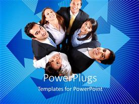 PowerPlugs: PowerPoint template with a lot of professionals standing in a circle