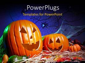 PowerPlugs: PowerPoint template with a lot of pumpkins for Halloween and bluish background