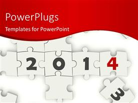 PowerPlugs: PowerPoint template with a lot of puzzle pieces creating the year 2014