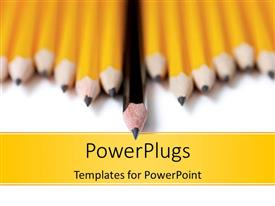 PowerPlugs: PowerPoint template with a lot of sharpened pencils with blurred background