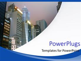 PowerPlugs: PowerPoint template with a lot of sky scrapers with sky in the background
