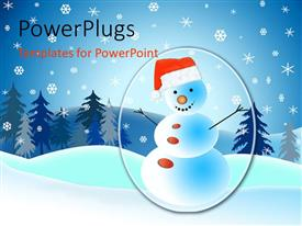 PowerPoint template displaying a lot of snow and a snowman in the middle