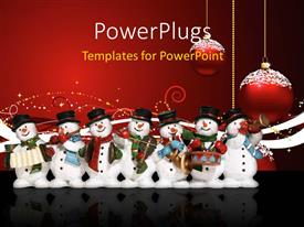 PowerPlugs: PowerPoint template with a lot of snowmen with celebration balls in background