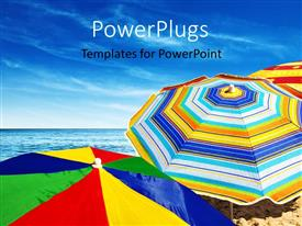 PowerPlugs: PowerPoint template with a lot of umbrellas on the beach