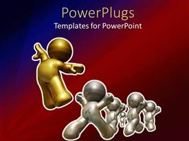 PowerPlugs: PowerPoint template with a lot of white figures being lead by a golden one