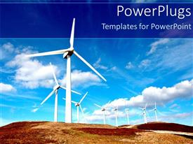 PowerPlugs: PowerPoint template with a lot of windmills with clouds in the background
