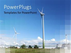 PowerPlugs: PowerPoint template with a lot of windmills with greenery in the background