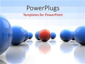 PowerPlugs: PowerPoint template with lots of 3D blue and red colored balls on a white background