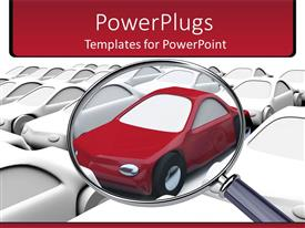 PowerPoint template displaying lots of 3D cars with a stethoscope over a distinct red car