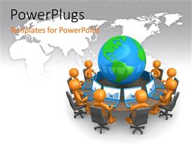 PowerPlugs: PowerPoint template with lots of 3D characters with laptops around an earth globe