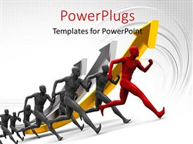 PowerPlugs: PowerPoint template with lots of 3D characters running on a white colored background