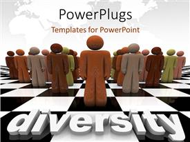 PowerPlugs: PowerPoint template with lots of 3D characters with a text that spells out the word 'Diversity'