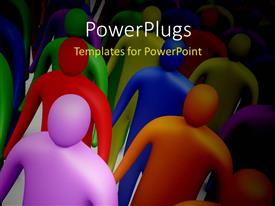 PowerPlugs: PowerPoint template with lots of 3D characters walking together on a white surface