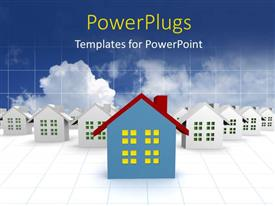 PowerPlugs: PowerPoint template with lots of 3D houses on a white colored background