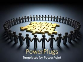 PowerPlugs: PowerPoint template with lots of 3D human characters forming a circle round some gold puzzles