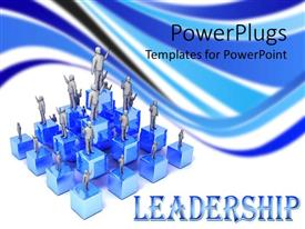 PowerPlugs: PowerPoint template with lots of 3D human characters standing on blue cubes