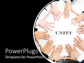 PowerPlugs: PowerPoint template with lots of adult hands joined together  on a black background